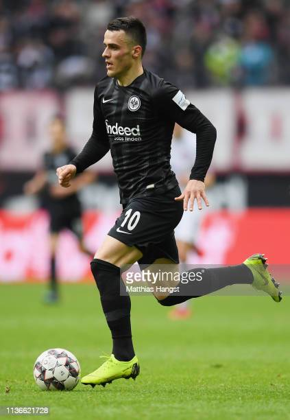 Filip Kostic of Frankfurt controls the ball during the Bundesliga match between Eintracht Frankfurt and 1 FC Nuernberg at CommerzbankArena on March...