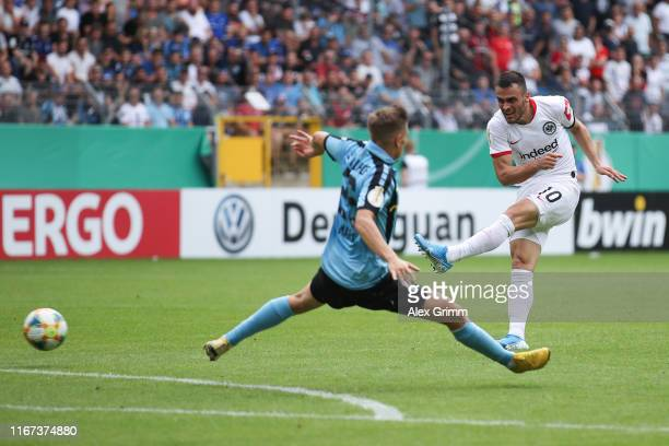 Filip Kostic of Frankfurt scores his team's second goal during the DFB Cup first round match between SV Waldhof Mannheim and Eintracht Frankfurt at...