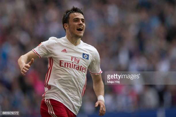 Filip Kostic of Hamburg celebrates after scoring a goal to make it 11 during the Bundesliga match between Hamburger SV and VfL Wolfsburg at...