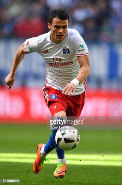 Filip Kostic of Hamburg in action during the Bundesliga match between Hamburger SV and SV Darmstadt 98 at Volksparkstadion on April 22 2017 in...