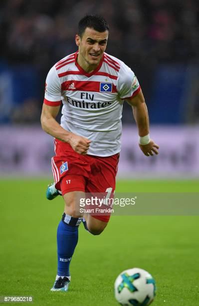 Filip Kostic of Hamburg in action during the Bundesliga match between Hamburger SV and TSG 1899 Hoffenheim at Volksparkstadion on November 26 2017 in...