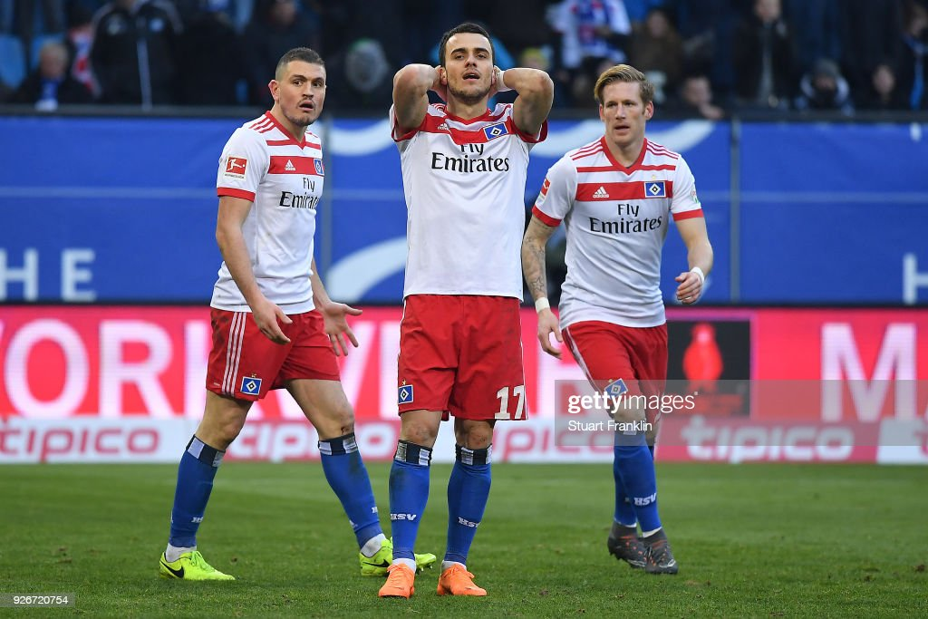Filip Kostic of Hamburg (17) misses a penalty during the Bundesliga match between Hamburger SV and 1. FSV Mainz 05 at Volksparkstadion on March 3, 2018 in Hamburg, Germany.