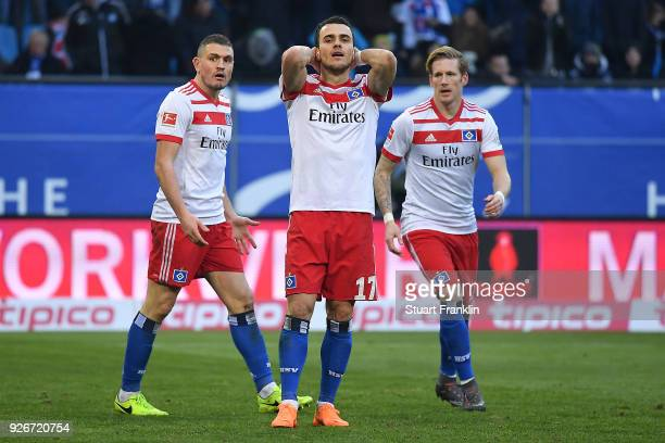 Filip Kostic of Hamburg misses a penalty during the Bundesliga match between Hamburger SV and 1 FSV Mainz 05 at Volksparkstadion on March 3 2018 in...