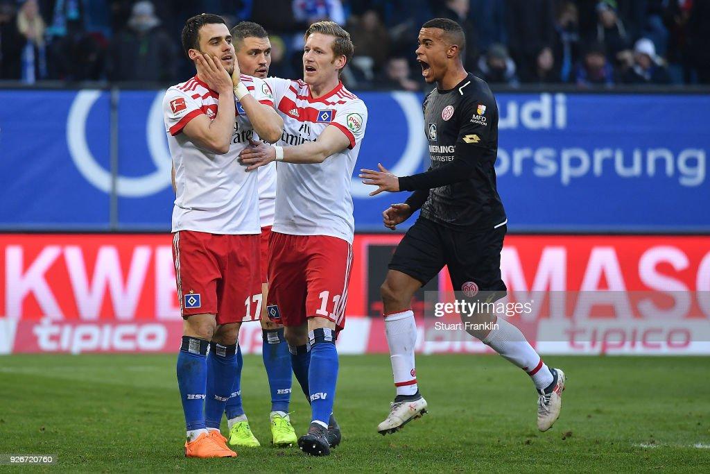 Filip Kostic of Hamburg (17) misses a penalty during the Bundesliga match between Hamburger SV and 1. FSV Mainz 05 at Volksparkstadion on March 3, 2018 in Hamburg, Germany.