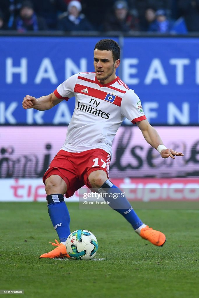 Filip Kostic of Hamburg misses a penalty during the Bundesliga match between Hamburger SV and 1. FSV Mainz 05 at Volksparkstadion on March 3, 2018 in Hamburg, Germany.