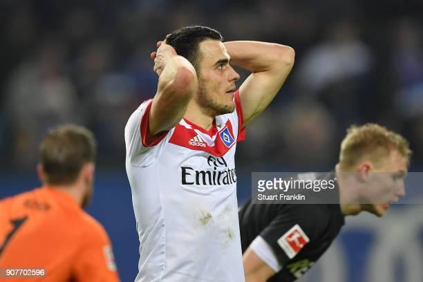 Filip Kostic of Hamburg reacts during the Bundesliga match between Hamburger SV and 1 FC Koeln at Volksparkstadion on January 20 2018 in Hamburg...