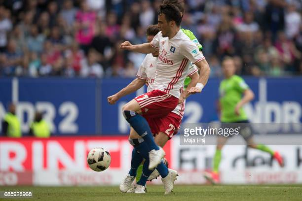 Filip Kostic of Hamburg scores a goal to make it 11 during the Bundesliga match between Hamburger SV and VfL Wolfsburg at Volksparkstadion on May 20...