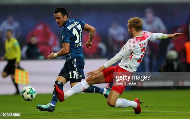 Filip Kostic of Hamburger SV scores his team's first goal during the Bundesliga match between RB Leipzig and Hamburger SV at Red Bull Arena on...