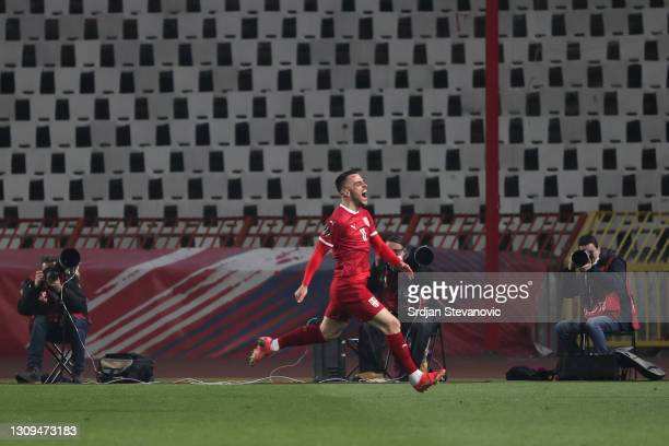 Filip Kostic of Serbia celebrates after scoring their team's second goal during the FIFA World Cup 2022 Qatar qualifying match between Serbia and...