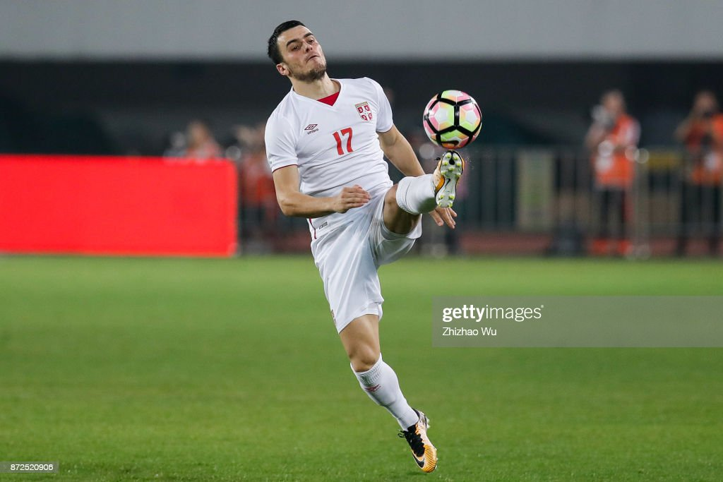 Filip Kostic of Serbia controls the ball during International Friendly Football Match between China and Serbia at Tianhe Stadium on November 10, 2017 in Guangzhou, China.