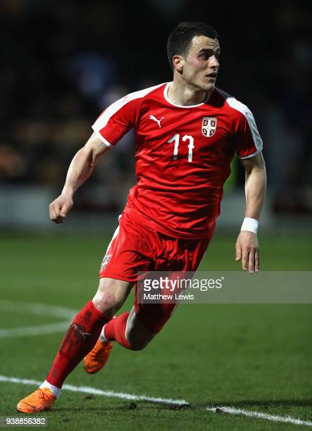 Filip Kostic of Serbia in action during the International Friendly match between Nigeria and Serbia at The Hive on March 27 2018 in Barnet England