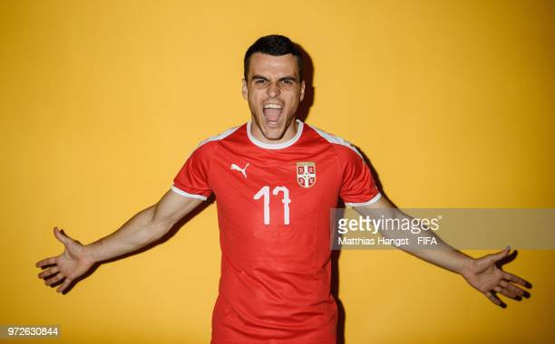 Filip Kostic of Serbia poses for a portrait during the official FIFA World Cup 2018 portrait session at on June 12, 2018 in Kaliningrad, Russia.