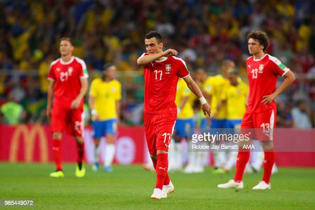 Filip Kostic of Serbia reacts after Paulinho of Brazil scored a goal to make it 0-1 during the 2018 FIFA World Cup Russia group E match between...
