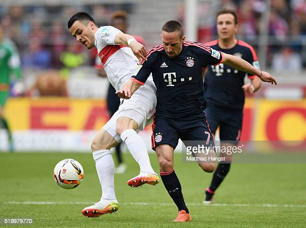 Filip Kostic of Stuttgart and Franck Ribery of Muenchen compete for the ball during the Bundesliga match between VfB Stuttgart and FC Bayern Muenchen...