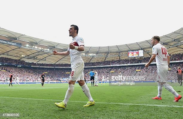 Filip Kostic of Stuttgart celebrates after the Bundesliga match between VfB Stuttgart and Hamburger SV at MercedesBenz Arena on May 16 2015 in...