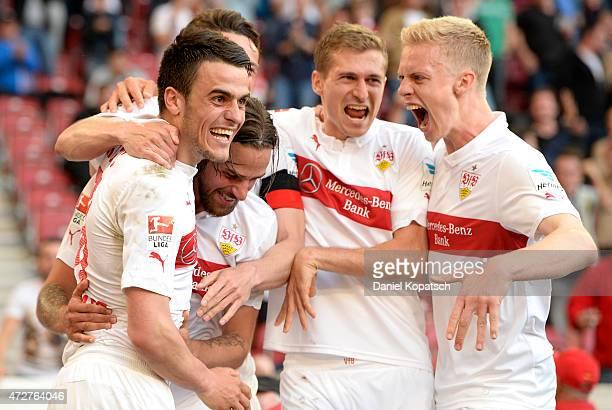 Filip Kostic of Stuttgart celebrates his team's second goal with team mates during the Bundesliga match between VfB Stuttgart and 1 FSV Mainz 05 at...
