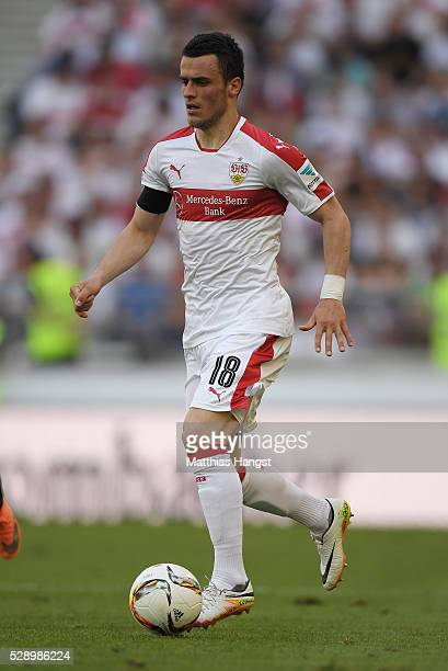 Filip Kostic of Stuttgart controls the ball during the Bundesliga match between VfB Stuttgart and 1 FSV Mainz 05 at MercedesBenz Arena on May 7 2016...
