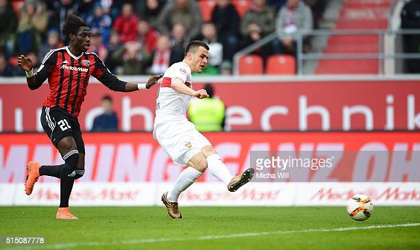 Filip Kostic of Stuttgart scores his team's first goal during the Bundesliga match between FC Ingolstadt and VfB Stuttgart at Audi Sportpark on March...