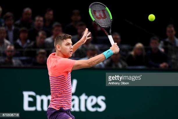 Filip Krajinovic during the Final of the Rolex Paris Masters at AccorHotels Arena on November 5 2017 in Paris France