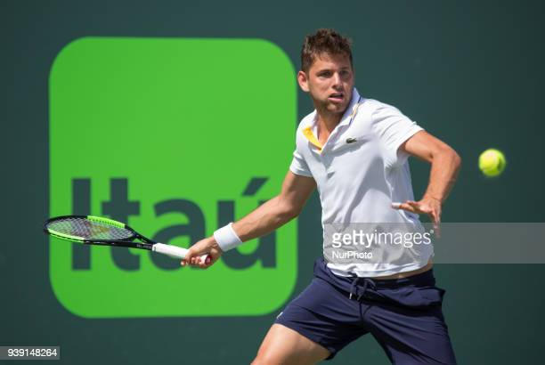 Filip Krajinovic from Serbia in action against Juan Martin Del Potro from Argentina during his fourth round match at the Miami Open in Key Biscayne...