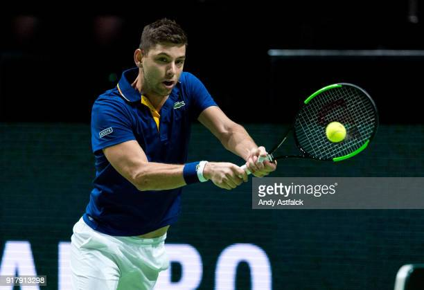 Filip Krajinovic from Serbia in his First Round match against Felix AugerAliassime from Canada during day 2 of the ABN AMRO World Tennis Tournament...
