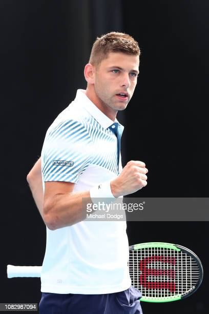 Filip Krajinovic of Serbia celebrates a point in his first round match against Marco Cecchinato of Italy during day two of the 2019 Australian Open...