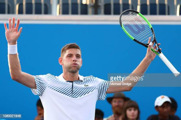 Filip Krajinovic of Serbia celebrates after winning match point in his first round match against Marco Cecchinato of Italy during day two of the 2019...