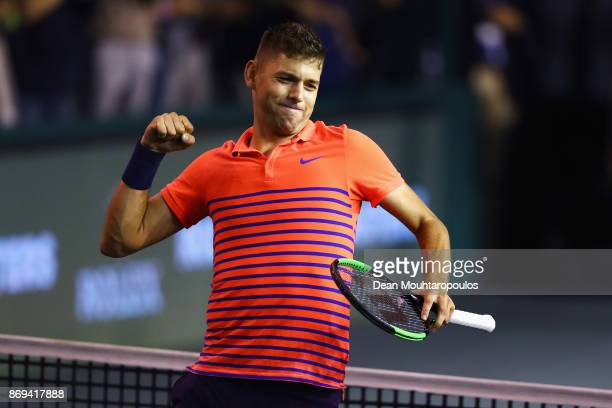Filip Krajinovic of Serbia celebrates his victory against Nicolas Mahut of France during Day 4 of the Rolex Paris Masters held at the AccorHotels...