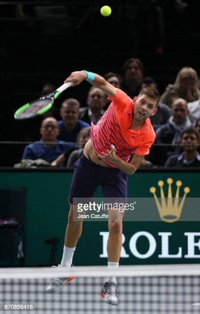 Filip Krajinovic of Serbia during the final against Jack Sock of USA on day 7 of the Rolex Paris Masters 2017 a Masters 1000 ATP World Tour event...