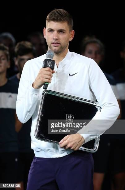 Filip Krajinovic of Serbia during the trophy ceremony after the final against Jack Sock of USA on day 7 of the Rolex Paris Masters 2017 a Masters...