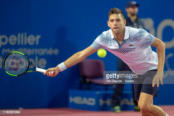 Filip Krajinovic of Serbia in action against Tomas Berdych of the Czech Republic in the Men's QuarterFinal match during the Open Sud de France Tennis...