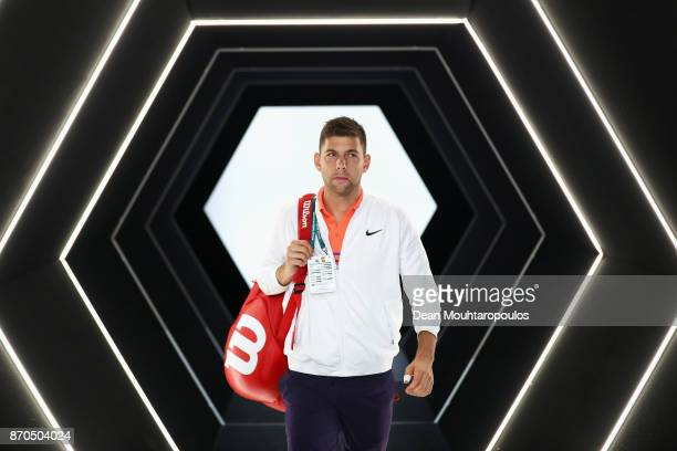 Filip Krajinovic of Serbia is pictured prior to his match against Jack Sock of the USA during the Mens Final on day 7 of the Rolex Paris Masters held...