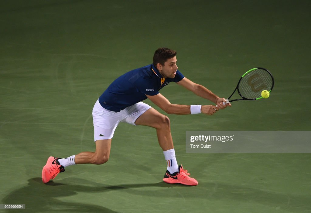 Filip Krajinovic of Serbia plays a backhand during his quarter final match against Evgeny Donskoy of Russia on day four of the ATP Dubai Duty Free Tennis Championships at the Dubai Duty Free Stadium on March 1, 2018 in Dubai, United Arab Emirates.