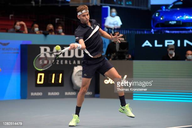 Filip Krajinovic of Serbia plays a forehand during his match against Novak Djokovic of Serbia on day four of the Erste Bank Open tennis tournament at...