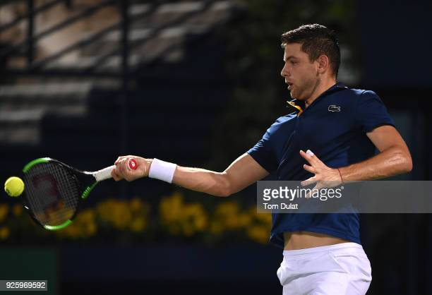 Filip Krajinovic of Serbia plays a forehand during his quarter final match against Evgeny Donskoy of Russia on day four of the ATP Dubai Duty Free...
