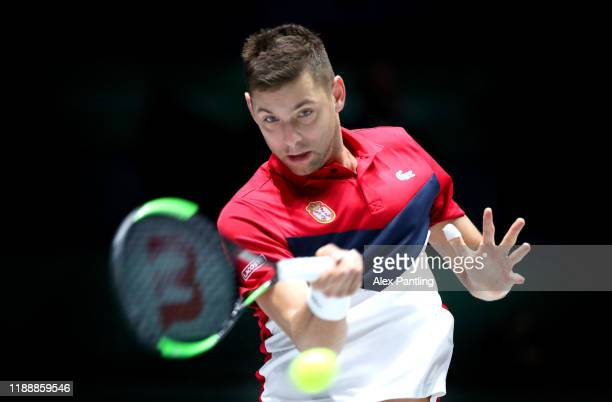 Filip Krajinovic of Serbia plays a forehand shot during his Davis Cup group stage match against Yuichi Sugita of Japan during Day Three of the 2019...