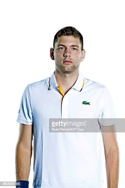 Filip Krajinovic of Serbia poses for portraits during the Australian Open at Melbourne Park on January 10 2018 in Melbourne Australia