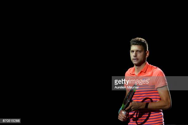 Filip Krajinovic of Serbia reacts as he arrives for the men's singles final match against Jack sock of the United States of America during day seven...