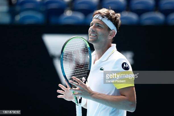 Filip Krajinovic of Serbia reacts in his Men's Singles third round match against Daniil Medvedev of Russia during day six of the 2021 Australian Open...