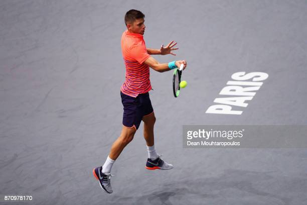 Filip Krajinovic of Serbia retruns a forehand against Jack Sock of the USA during the Mens Final on day 7 of the Rolex Paris Masters held at the...