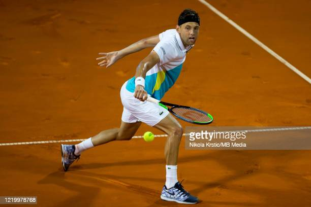 Filip Krajinovic of Serbia returns during final match against Dominic Thiem of Austria on June 14 during the 3rd day of Summer Adria Tour 2020 in...