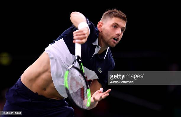 Filip Krajinovic of Serbia serves during his match against Karen Khachanov of Russia on Day 1 of the Rolex Paris Masters on October 29 2018 in Paris...