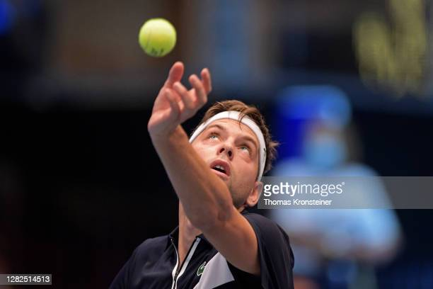 Filip Krajinovic of Serbia serves during his match against Novak Djokovic of Serbia on day four of the Erste Bank Open tennis tournament at Wiener...