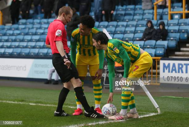 Filip Krovinovic and Matheus Pereira of West Bromwich Albion struggle to keep the ball still at a corner during the Sky Bet Championship match...