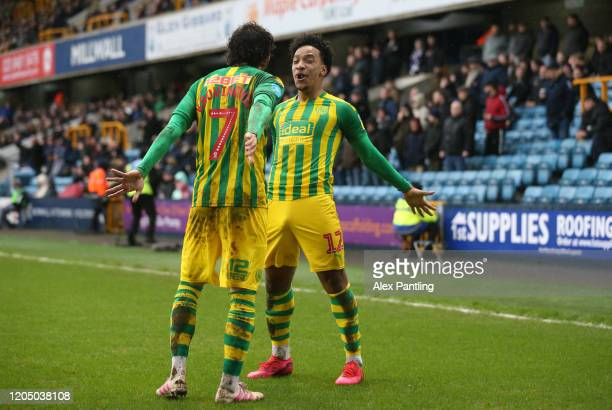 Filip Krovinovic of West Bromwich Albion celebrates with Matheus Pereira after scoring his team's first goal during the Sky Bet Championship match...