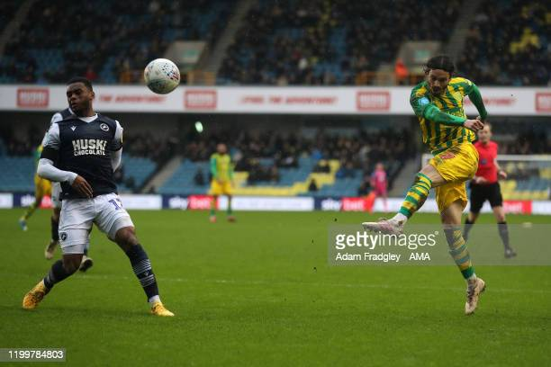 Filip Krovinovic of West Bromwich Albion scores a goal to make it 0-1 during the Sky Bet Championship match between Millwall and West Bromwich Albion...