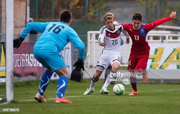 Filip Kubala of Czech Republic battles for the ball with Arne Maier of Germany during the international friendly match between U16 Czech Republic and...