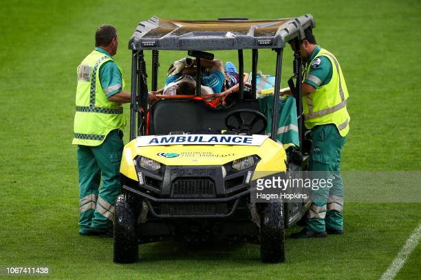 Filip Kurto of the Phoenix leaves the field on a stretcher during the round six ALeague match between the Wellington Phoenix and the Perth Glory at...