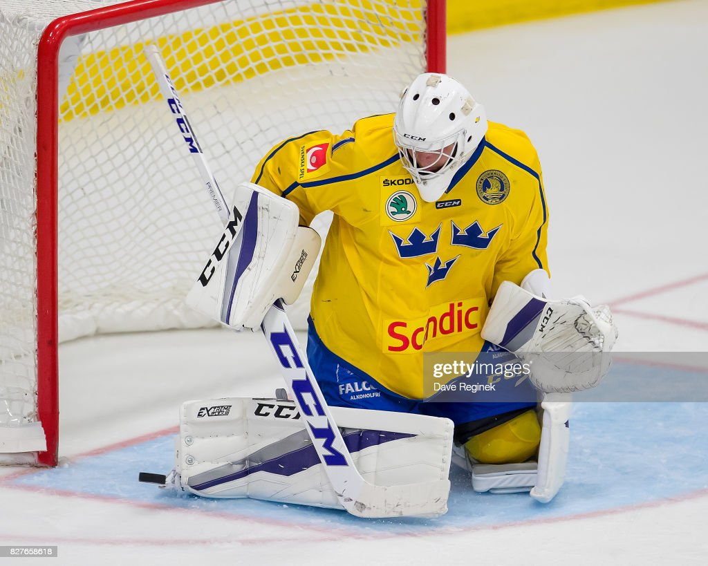 Filip Larsson #1 of Sweden makes a save against USA during a World Jr. Summer Showcase game at USA Hockey Arena on August 2, 2017 in Plymouth, Michigan. The USA defeated Sweden 3-2. (Photo by Dave Reginek/Getty Images) Filip Larsson