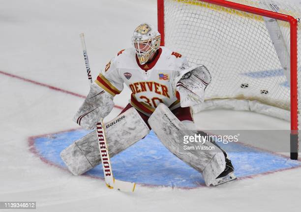 Filip Larsson of the Denver Pioneers warms up before an NCAA Division I Men's Ice Hockey West Regional Championship Semifinal game between the Ohio...